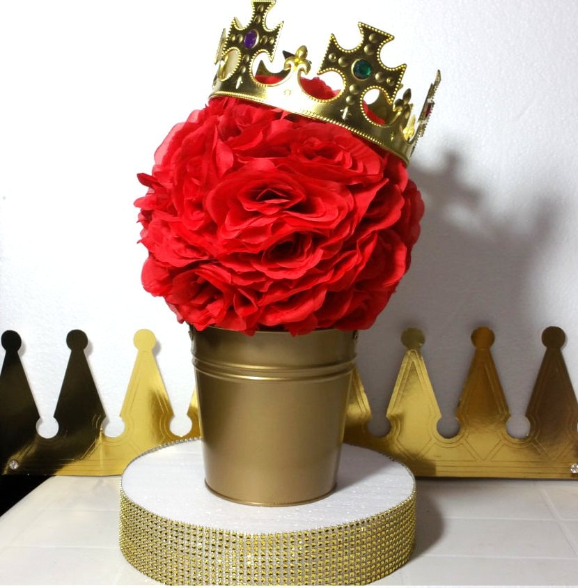 flower pail red and gold baby shower table centerpiece boys. Black Bedroom Furniture Sets. Home Design Ideas