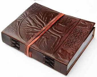 "Tree of life handmade leather bound journal diary/notebook/sketchbook with embossed design and handmade paper , 7""x 5"""