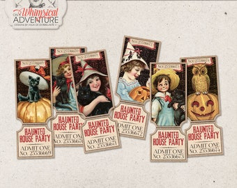 Haunted Manor, Haunted House Party, Vintage Halloween Invitations, Printable Coupons, Ticket Invitation, Instant Download, Halloween Party