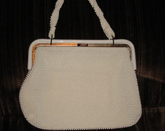 1950's Corde Bead Purse / Ivory and Gold / Vintage Purse in Good Condition