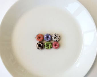 "Tiny needle felted doughnuts, half dozen miniature donuts, mini felt foods 5/8"" (1.5cm)"