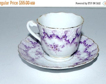 on sale Vintage demitasse cup and saucer  purple and white china  espresso cup and saucer
