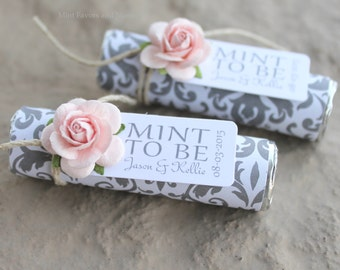 """Mint wedding Favors - Set of 100 mint rolls - """"Mint to be"""" favors with personalized tag - blush wedding, silver and pink, unique favors"""