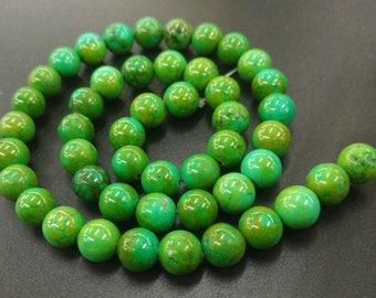 46pcs/strand -Tibetan Green Turquoise Howlite,Green Stone 8mm round beads