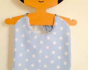 Blue baby bib-star sponge bamboo and white