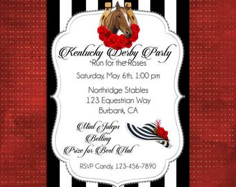 Kentucky Derby Invitation, DIY Party Printable, Party Invitation, Run for the Roses, Horse Racing Party, Derby Hat, Preakness/Belmont Stakes