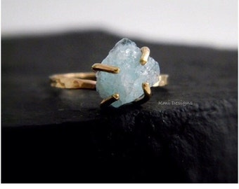 Aquamarine Rings, March Birthstone, Gold Engagement Ring, Aquamarine Engagement Ring, Promise Ring,  Aquamarine Stone, Gemstone Ring