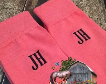Groom Socks - Coral - Groomsmen Gift - Groomsmen Socks - Monogrammed Socks - Wedding Party Gift - Mens Dress Socks - Wedding Socks