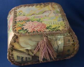 Vintage Greetings Card Crocheted Trinket Box with Tassel