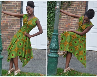 African print midi dress with handkerchief hem in green with mustard hues