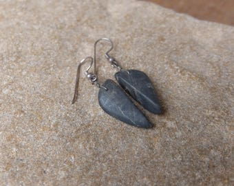 Natural stone earrings - cut out of one rock - unique beach stone jewelry