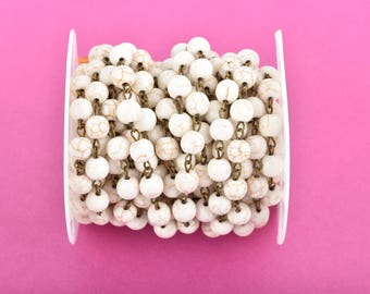 1 yard WHITE Howlite Rosary Chain, bronze links, 8mm round stone beads, fch0613a
