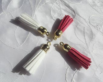 4 FAUX SUEDE TASSELS - GOLD - 3.5 CM - WHITE - PINK