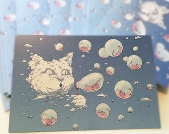 Postcard: Bubble Cat - Blue - Hilarious Card, Weird Postcards, Art Postcards, Postcrossing, Cat Postcard, Kitten Postcard