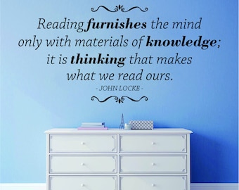 Reading Furnishes The Mind John Locke Vinyl Decal Wall Sticker Decor Quote