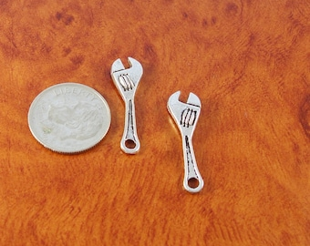 Wrench charms / 6 silver tone tool charms / 3D charms for crafts or jewelry making