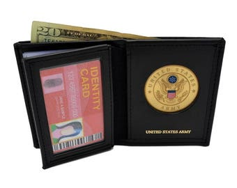 USA United States Army Medallion Bi-fold Men's Leather Wallet Billfold Black Brown Military Perfect Fit