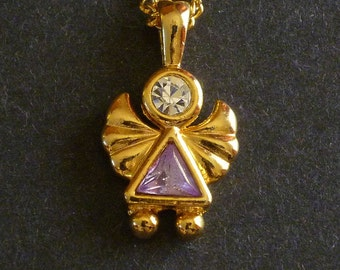 Amethyst Angel Pendant Necklace