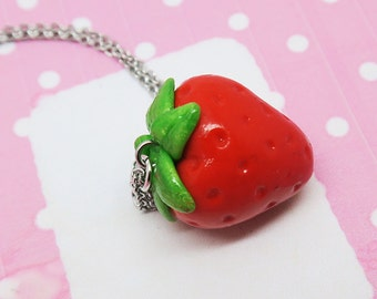 Strawberry Necklace - Fruit Jewelry - Fruit necklace - Miniature Food Jewelry