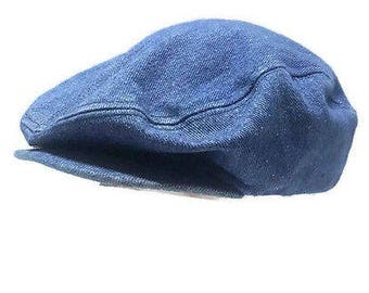 Vintage Cabbie Newsboy Gatsby Snap Button Brim Denim Hat Medium 7-7 1/8 USA