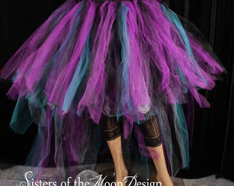 Ready to Ship - Beauty Hi low tutu tulle skirt adult Dancer fantasy fairytale Wedding off beat bridal bustle back trail costume prom - SOTMD