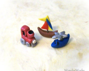 Micro Vehicle Trio Boy Toy Miniature Artisan Sculpted Set 1/12 Dollhouse Scale Vehicles Tiny Sailboat Blue Helicopter Red Train Engine