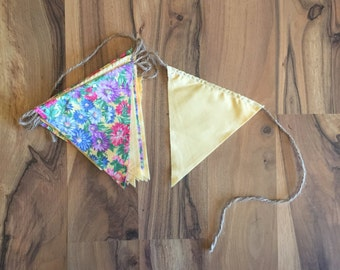 Yellow & Floral Cloth Pennant Banners