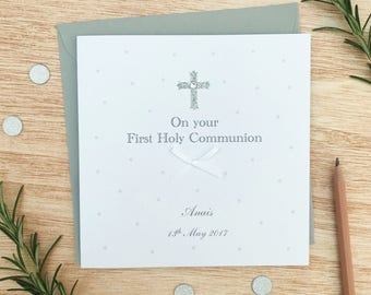 Personalised First Holy Communion Card - Personalised  Handmade Holy Communion Card - Holy Communion Cards - Girls Holy Communion Card