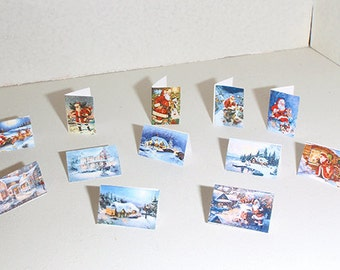 Dollhouse Christmas cards 12 pcs PDF kit
