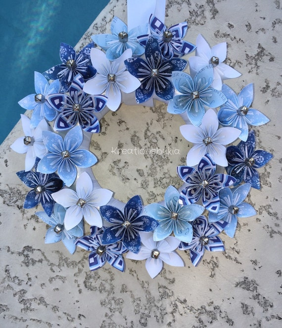 Origami Wedding Flowers: Origami Paper Flower Wreath / Wedding Decorations Origami