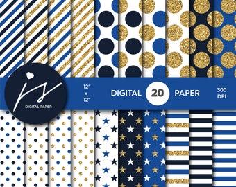 Royal blue and Navy blue gold glitter digital paper, Patterns, Backgrounds Navy blue and Royal blue glitter gold digital scrapbooking MI-754