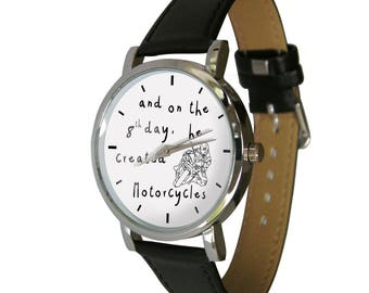 And on the 8th day, he created Motorcycles. Great biker gift. Genuine Leather Strap. mens watch. womens watch