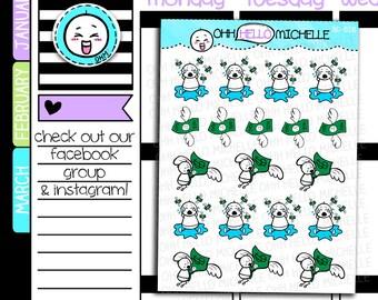Wahh Bills Beedoo BD-028 | 19 Hand Drawn Planner Stickers