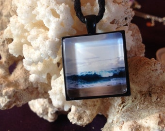 Wave Pendant, beach jewelry, original photo art, ocean necklace, surf jewelry, ocean gift for her, beachy gift for girl, best friend gift