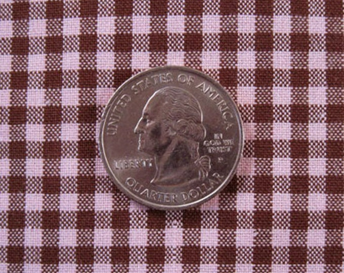 """GINGHAM CHECK 1/8"""" Pink & Brown 100% Cotton Fabric - by the Yard, Half Yd, Quarter Yd, FQ (16 other colors)"""