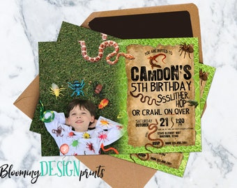 Slithery Snake and Bug Photo Birthday Party Invitation