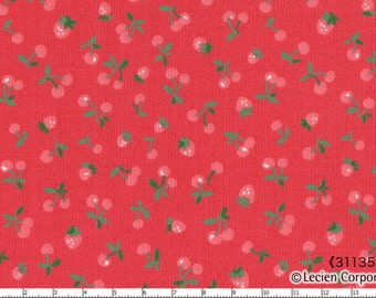 HALF YARD Lecien - Old New 30s Collection- Strawberries and Cherries on Red - Pink Red Green - Japanese