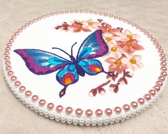 Hand Embroidery Hoop Art Gardening Gift Modern Embroidery Nature Lover Gift Needlepoint Hoop Blue Butterfly Sakura Floral Embroidery Design
