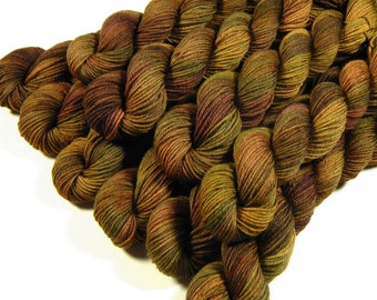 Hand Dyed Sock Yarn, Mini Skeins, Sock Weight 4 Ply Superwash Merino Wool - Antique Brass - Indie Dyed Fingering Yarn, Gold Brown