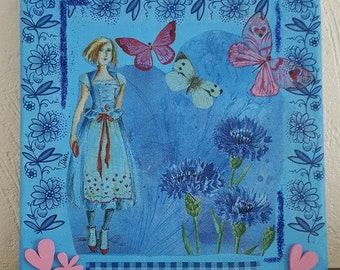 Canvas frame 'Miss under the blue'