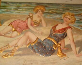Pretty Gold Foil Bathing Beauty Postcard