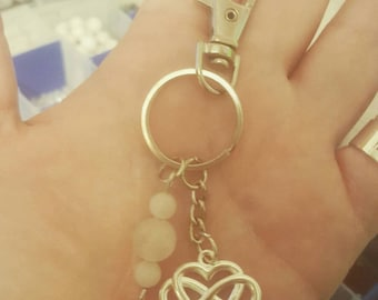 Infinity Heart Keychain - - Made to Order - - Polyamory - - Crystal Healing