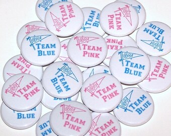 """Go Team Pink & Go Team Blue Gender Reveal Party Set of 24 Buttons Baby Shower Favor 1"""" or 1.5"""" or 2.25"""" Pin Back Button Boy Girl 1"""" Magnets"""
