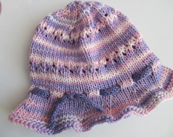 Cotton Handknit Baby's or Child' s Hat, Ruffle Brim, Pink and Lavender, Chemo Cap, OOAK