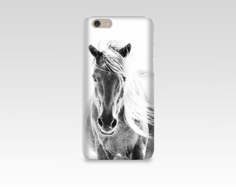 Wild Horse Phone Case, iPhone 7 case, Samsung S7, iPhone 6, iPhone 5, Samsung S6, Equine Photography, iPhone 7 Plus, Black and White Mare