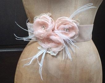 Blush Bridal Velvet  Belt with Flowers