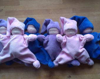 Cute, Waldorf Inspired, Rattling Dolls, Velvet, Baby Shower Gift, Wool Stuffing, All Natural, Handstitched, Handsewn, Nursery Room