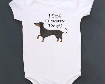 Cute baby bodysuit, Unique baby clothes, Weiner Dog baby, Dachshund, Baby one piece, Baby Bodysuit, Wiener Dog, Doxie, Pet