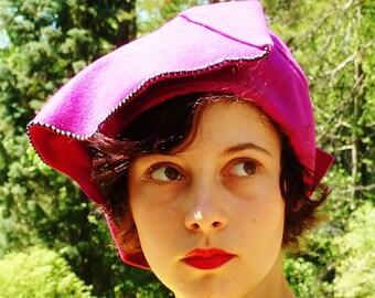 Vintage Pink Felt Hat, 1950s Vintage Wool Magenta Rinestone Cloche Hat