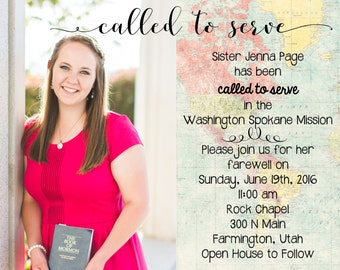 LDS Missionary, Missionary Farewell Invitation, LDS, Elder. Sister. Printable